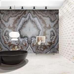 Dekorációs burkolatok barna márvány Bianco Neroonyx Budapest Bookmatched